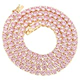 Bling Bling NY Unisex Rose Gold Finish 1 Row Tennis Necklace Choker Chain Lab Created Diamonds 4MM Pink Solitaires 18-24 inches (Chain 20'')
