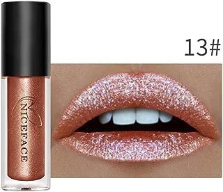 Oceaneshop 1/6Pcs Set Women Beauty Waterproof Long Lasting Diamond Metallic Liquid Lip Gloss Metal Lipstick Shimmer Pearly