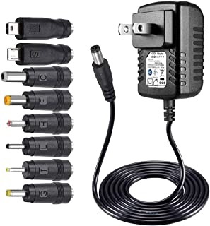 SoulBay 5V 2A AC Adapter Charger Replacement w/ 8 Tips, Versatile Regulated Power Adapter..