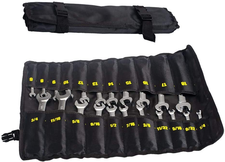 Ratchet Wrench 22-Piece Ratcheting Wrench Set,Metric /& SAE Chrome Vanadium Steel Hand Combination Wrench Spanner with Portable Carrying Bag