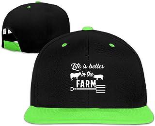 Adgjhbvn Unisex Life is Better On The Farm Toddler Hip Hop Baseball Cap Boys Girls Green Gorras de Hip Hop de béisbol