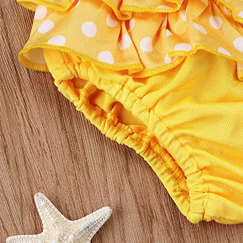 Tuemos, costume da bagno per bambina, in tre pezzi, carino a pois, senza maniche, con balze, top e mini pantaloncini Giallo 0-6 Mesi