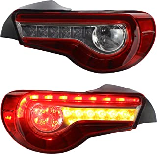 MICROPOWER LED Tail Light for Toyota 86 2012-2018 Subaru BRZ 2013-2018 Scion FR-S 2012-2016 with Sequential Turn Signals and Full LED DRL Bars (red clear)