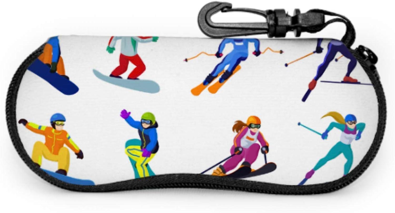 Skiers And Snowboarders Cartoon Eyeglass Case Soft Print Glasses Case Light Portable Neoprene Zipper Soft Case Slim Case For Glasses
