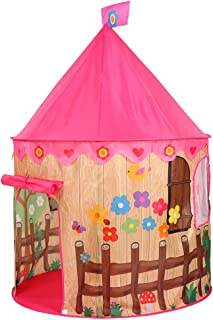 Baoblaze Foldable Prince Flowers Play Tent Playhouse Castle for Kids Girls Outdoor Indoor Game Nursery Play Hut Playpen Toy Baby Infant Christmas Gift Waterproof