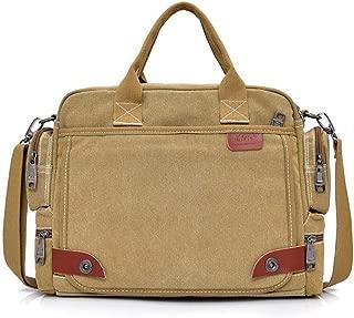 AILOVYO Solid Khaki Casual Vintage Multifunction Trunk Men's Canvas Travel Crossbody Shoulder Messenger Bag Handbag for Men