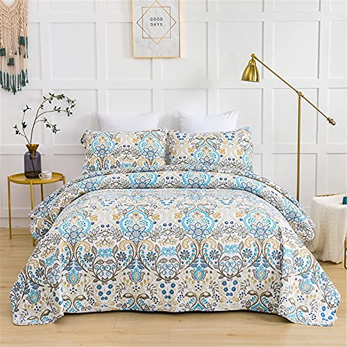DERUKK-TY Colcha acolchada tamaño king 260 x 270 cm, única flor azul beige patrón colcha, 3 piezas colcha ligera para todas las estaciones, 1 edredón y 2 fundas de almohada