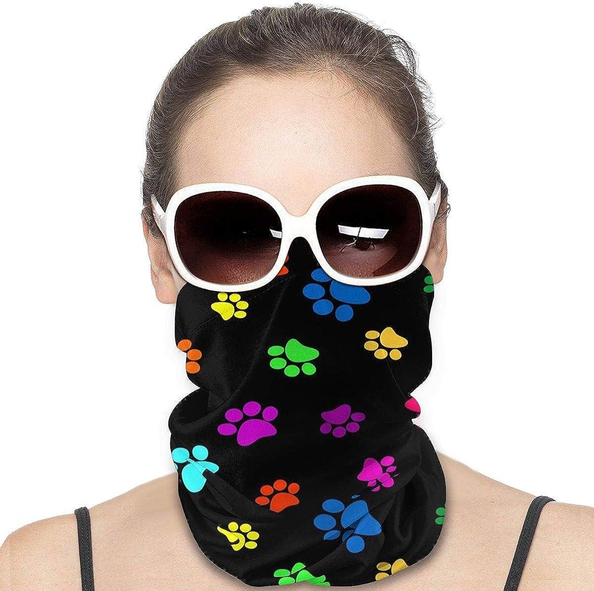 KiuLoam Women Bandanas Face Mask, Color Paw Prints on Black Neck Gaiter Mask Headband for Men Face Scarf Dust, Outdoors, Sports