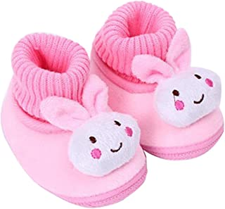 DZT1968 Baby Winter Cartoon Bunny Soft Sole Anti Slip Prewalker Shoes Snow Boots Socks