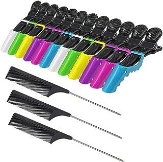 12 Stks Plastic Alligator Haar Clips voor Vrouwen en Meisjes, YuCool Kleurrijke Sectioning Clips met Niet Slip Brede Tande...