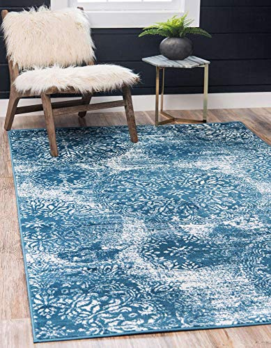 Unique Loom Sofia Collection Traditional Vintage Area Rug, 7' x 10', Blue/Ivory