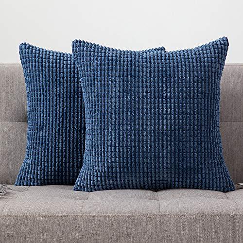 MIULEE 2er Set Cord Weiches Massiv Dekorativen Quadratisch Überwurf Kissenbezüge Kissen für Sofa Schlafzimmer Auto 20