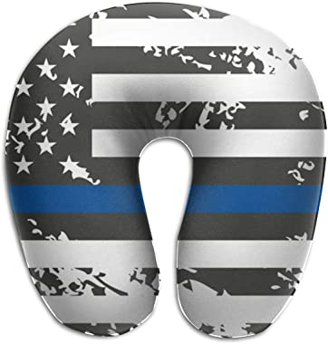 Travel U Pillow 100% Memory Foam Neck Pillow, Ideal for Airplane Car Travel Comfortable and Lightweight Must Have Travel Accessories, An American Flag Symbolic Of Support For Law Enforcement Police.