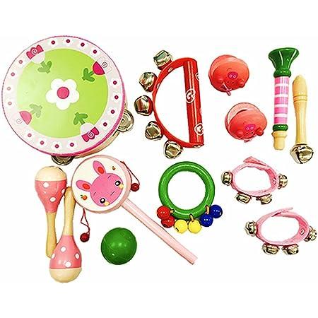 PAMRAY Instruments Musique Bebe Percussions Rythme Jouets Bois Mini Tambourin Maracas Castagnettes Trompette Coloré Educatifs Musical Toys Rose