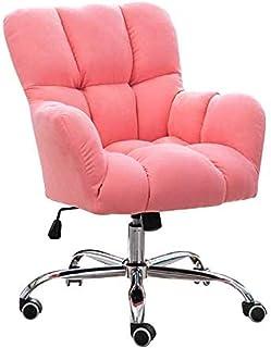 Fauteuil de bureau pivotant rembourré en velours - Style moderne et simple - Pour la maison/le salon/la chambre - Gris/rose