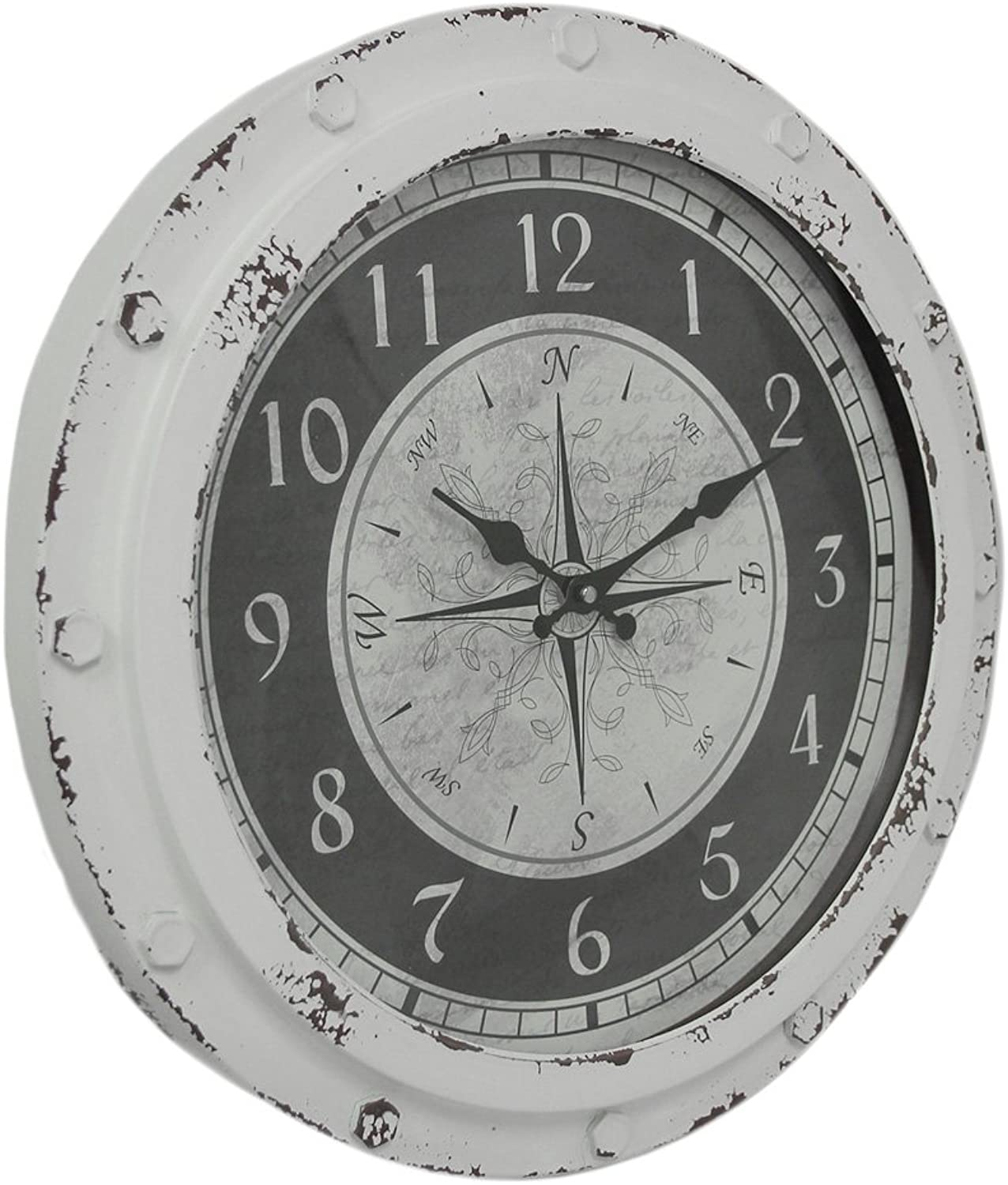 Zeckos Weathered White Metal Round Compass pink 18 inch Wall Clock