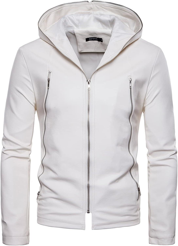 Men's Hooded Zipper Decoration PU Leather Jacket Windbreaker,Casual Motorcycle Outerwear,Windproof Slim Hooded Jacket