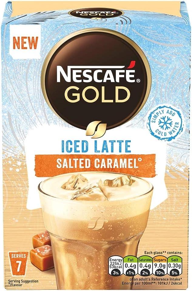 Nescafe Gold Iced Salted Caramel Latte 7 Sachets, 101.5g
