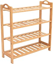 PINDIA 4 Tier Bamboo Wooden Shoe Storage Rack Household Organizer - 27x9.5x26.5 inch