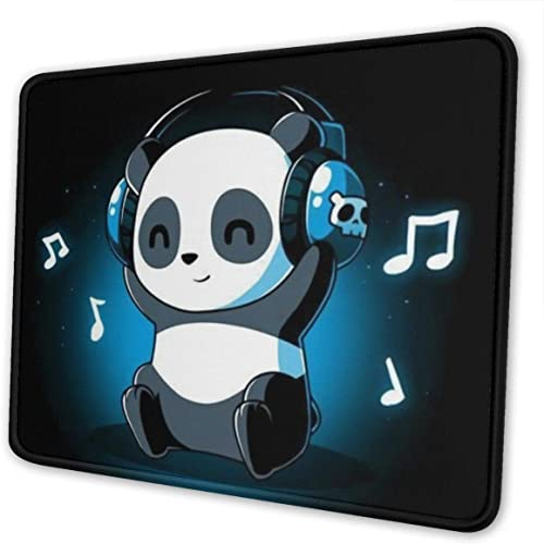 DJ Panda Pattern Mouse Pad with Stitched Edge, Premium-Textured Mouse Mat TOLUYOQU