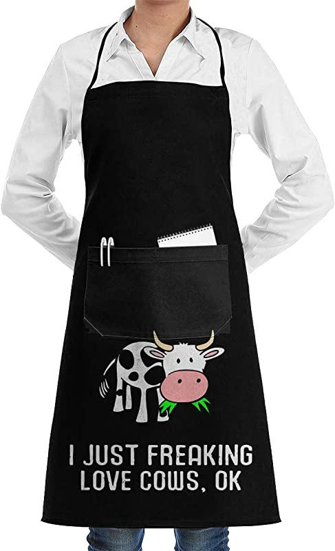 Unisex Overlock Apron I Just Freaking Love Cows Ok Professional Polyester Work Apron For Men