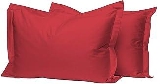 Pizuna 400 Thread Count Cotton Standard Burgundy Red Pillow Cases 2 Pack, Luxurious Soft Sateen 100% Long Staple Cotton 2 ...