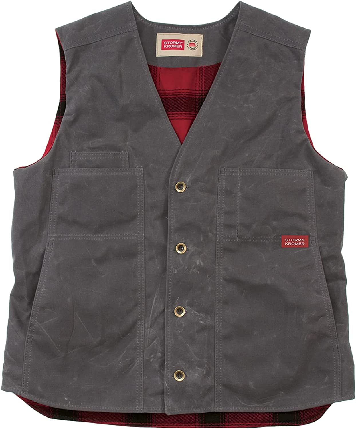 Stormy Kromer Waxed Button Vest With Lining - Cold Weather Men's Wool Vest