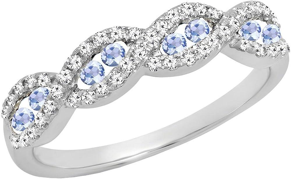 Dazzlingrock Collection 10K Round Gemstone & Diamond Ladies Swirl Anniversary Wedding Band, White Gold