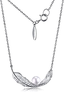 FOREVER QUEEN 925 Sterling Silver Feather Shell Pearl Necklace, Plume Pendant Necklace for Women, Fashion Jewelry Gift Box Package
