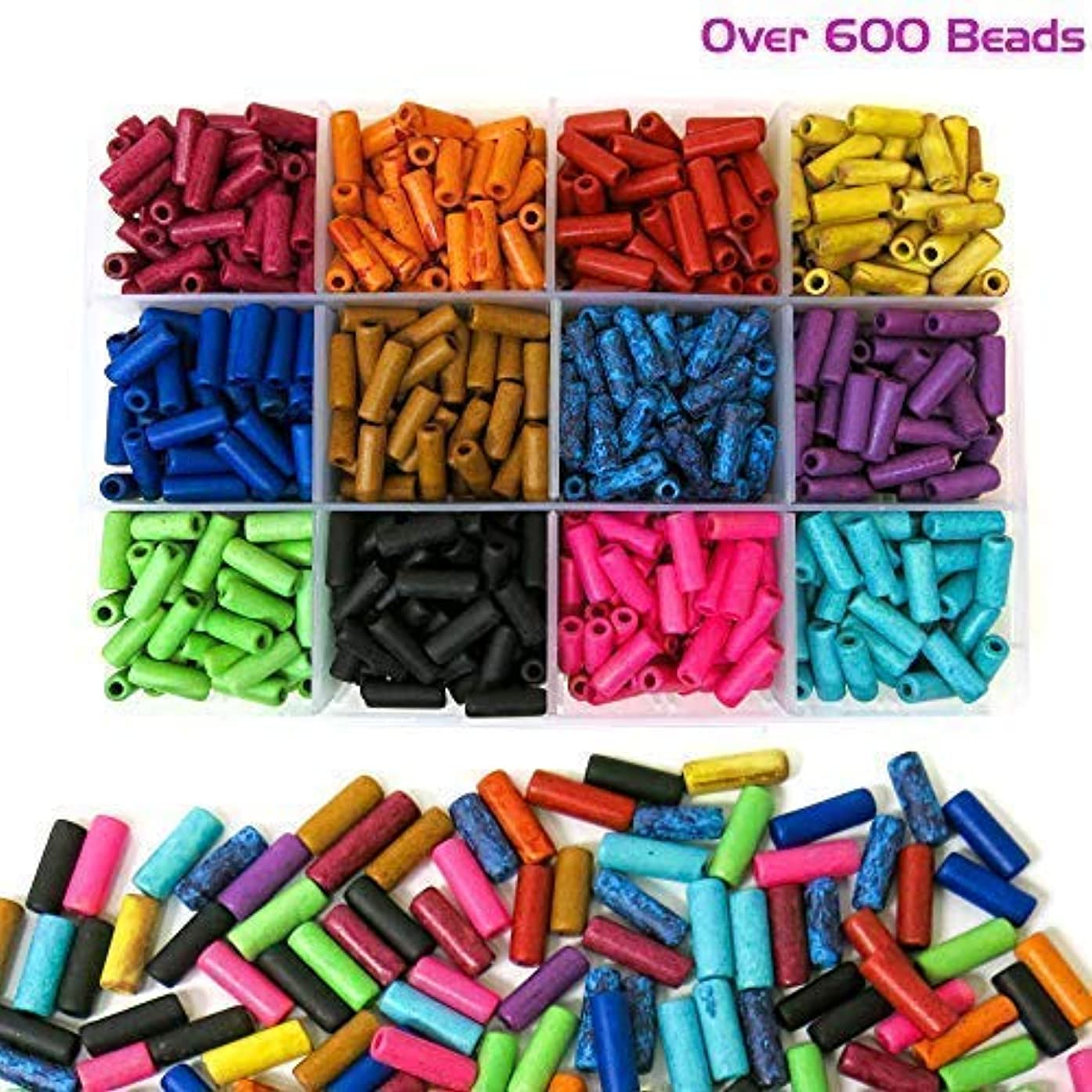 Over 600 Ceramic Tube Beads for Jewelry Making with Free Genuine Leather Cord Necklace - Handmade Colorful Premium Quality Craft Bead Kit - Unique Craft Supplies