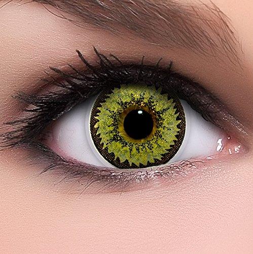 Linsenfinder Lenzera Circle Lenses goldene 'Golden Spark' ohne Stärke + Kombilösung + Behälter 14,50mm farbige Kontaktlinsen