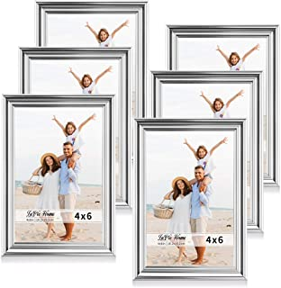 LaVie Home 4x6 Picture Frames(6 Pack, Silver) Single Photo Frame with High Definition Glass for Wall Mount & Table Top Display, Set of 6 Basic Collection