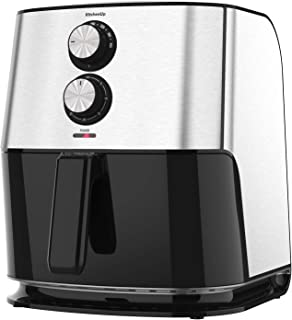 KitchenUp Fryer Toaster Oven 1700W Large Oilless Cooker with Detachable Dishwasher Safe Basket and Easy Use Knobs for Roasting, Air Frying, Reheating and Dehydrating, 6.8 Quarts, Silver-Black