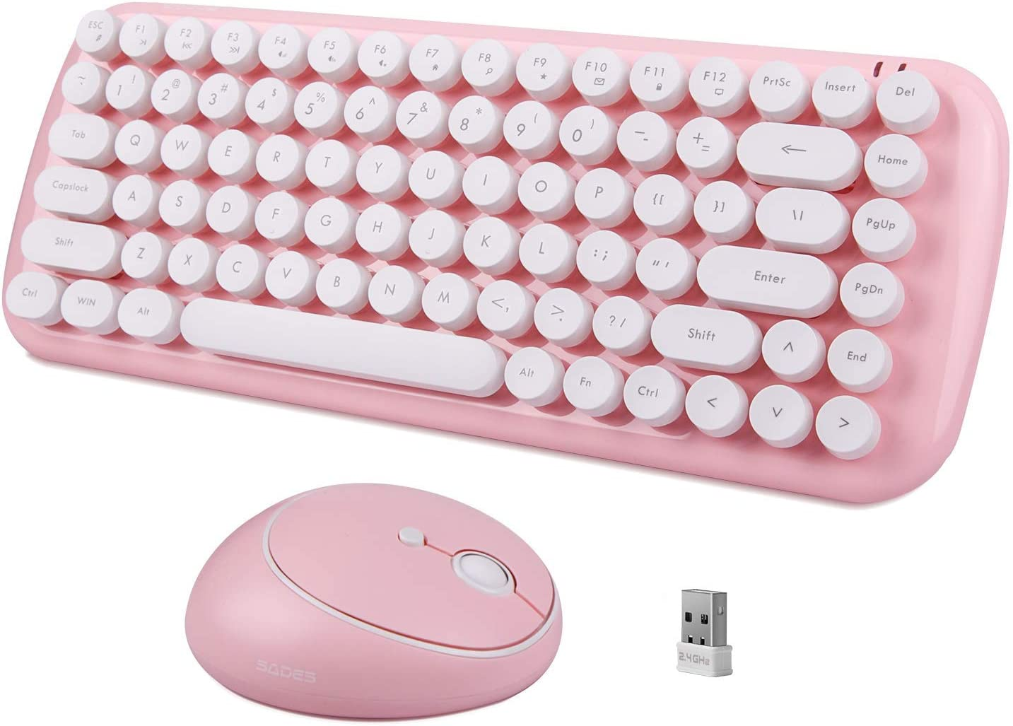 Wireless Keyboard and Mouse Combo, 2.4GHz USB Mini Portable Wireless Pink Keyboard, Cute Round Retro Typewriter Keycaps and Wireless Mouse for Computer, Laptop, Desktops, PC, Mac