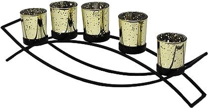 Porta-velas Seraphic Centerpiece, Black, Gold Cups, 5-Cup Arch
