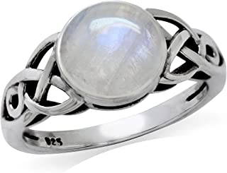 Silvershake 8mm Natural Round Shape Moonstone 925 Sterling Silver Triquetra Celtic Knot Solitaire Ring