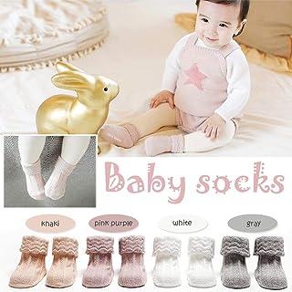 Yunhigh-uk Botitas de bebé Calcetín Calcetines Antideslizantes de algodón Calcetín de Corte bajo Aguja Doble Niños para otoño Invierno (M)