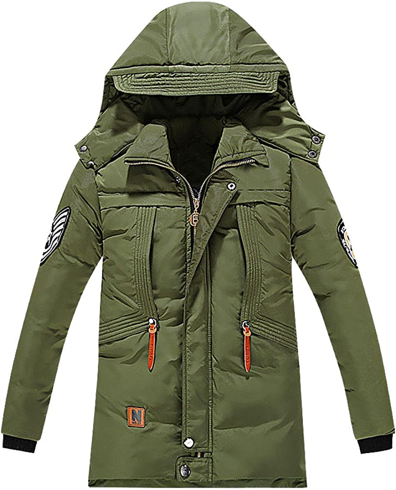 Sweety Kids 1 Color Zip Up Flap Detail Cap Hood Cotton Padded Duck Down Parka