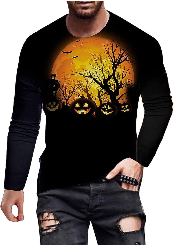 BEUU Halloween Soldier Long Sleeve T-shirts for Mens, Fall Funny Pumpkin Black Cat Bat Print Casual Athletic Tee Tops