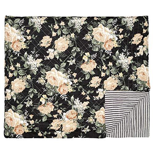 GreenGate Josephine Black - Tagesdecke 140 x 220 cm - Rosen/Blumen