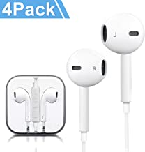Headphones, 4Pack Quality Earbuds Earphones with Microphone and Volume Control, Compatible Phone 6s Plus/6s/6/SE/5s/5c/5 Galaxy and More Android Smartphones 3.5mm Headphones White