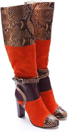 Lady Haut-Baril Bottes Velours Visage Serpent Couleur Peau Haute Talon Bottes Europe Les états-Unis Commerce Extérieur Original Chaussures à Talon épais Unique