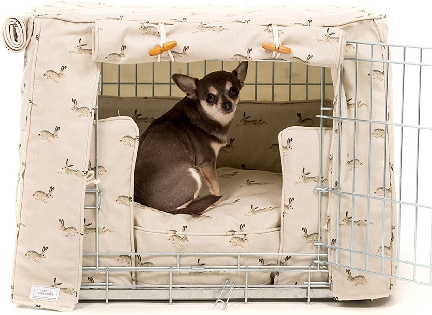 Lords & Labradors Crate Cover Set in Sophie Allport Hare Designer Fabric with EllieBo Crate (Includes a dog crate, crate cover and cushion) (Medium 30 , Silver)