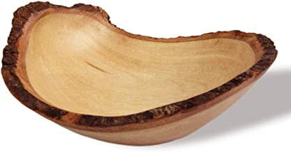roro Handcarved Rustic Bark Round Wood Bowl, Live-Edge (Small 6 Inch)