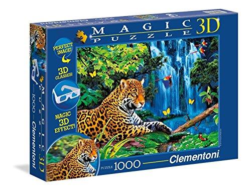Clementoni 39284.1 - 1000 T Magic 3D Jaguar Im Dschungel, Klassische Puzzle