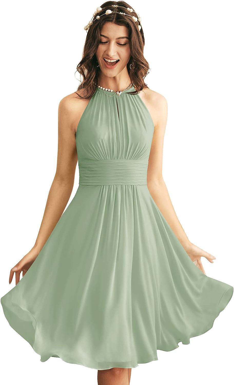 ALICEPUB Chiffon Bridesmaid Dresses Short Formal Dresses for Women Party with Keyhole Design