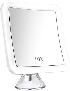 ELFINA Spaire Espejo Maquillaje/Afeitado Aumento con Luz, Espejo Aumento LED Cosmético con Ampliación 10X y Poderoso Ventosa, Rotación 360°, con Una Pequeña Bolsa como Regalo
