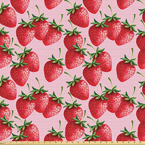 Ambesonne Red Fabric by The Yard, Delicious Big Strawberries on Pink Background Tasty Juicy Ripe Summer Fruits, Stretch Knit Fabric for Clothing Sewing and Arts Crafts, 2 Yards, Red Green