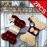 OurWarm 2pcs Christmas Stockings for Dogs, 16.5 Inch Buffalo Plaid Bone Shape with Large Opening Design Pet Stockings for Dogs Christmas Decorations