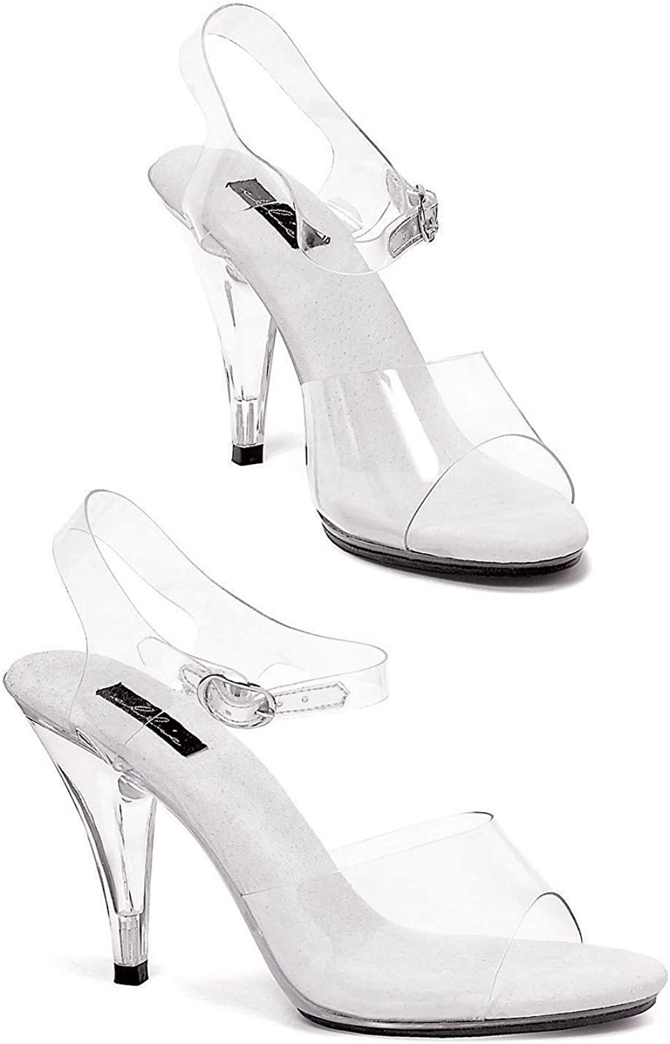 Sexy Fashions 4 Inch Heel Clear Sandal Women's Size shoes With Ankle Strap (Clear;12)